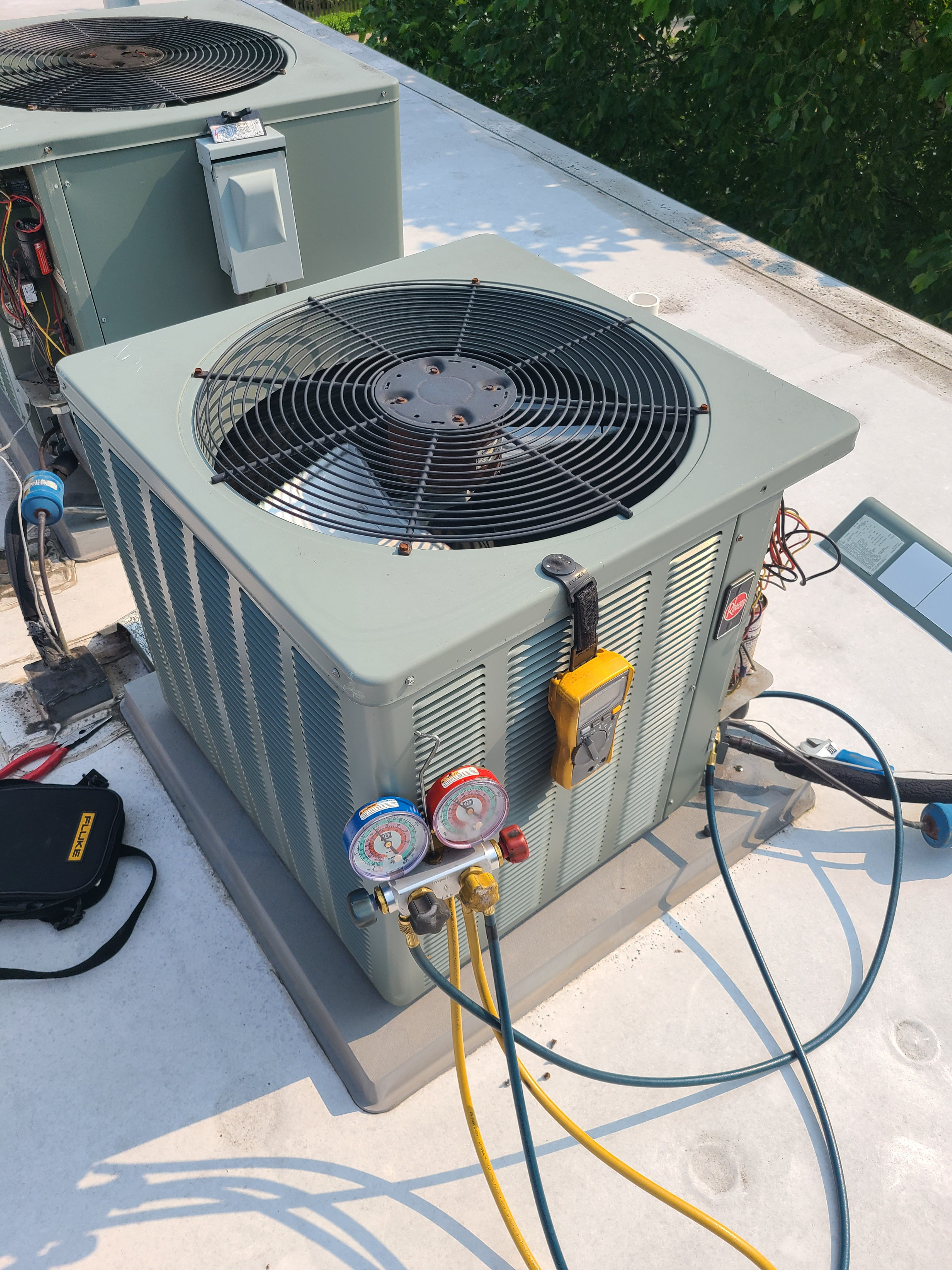 Rheem ac summer tune up and maintenance. System cleaned and checked and ready for summer.