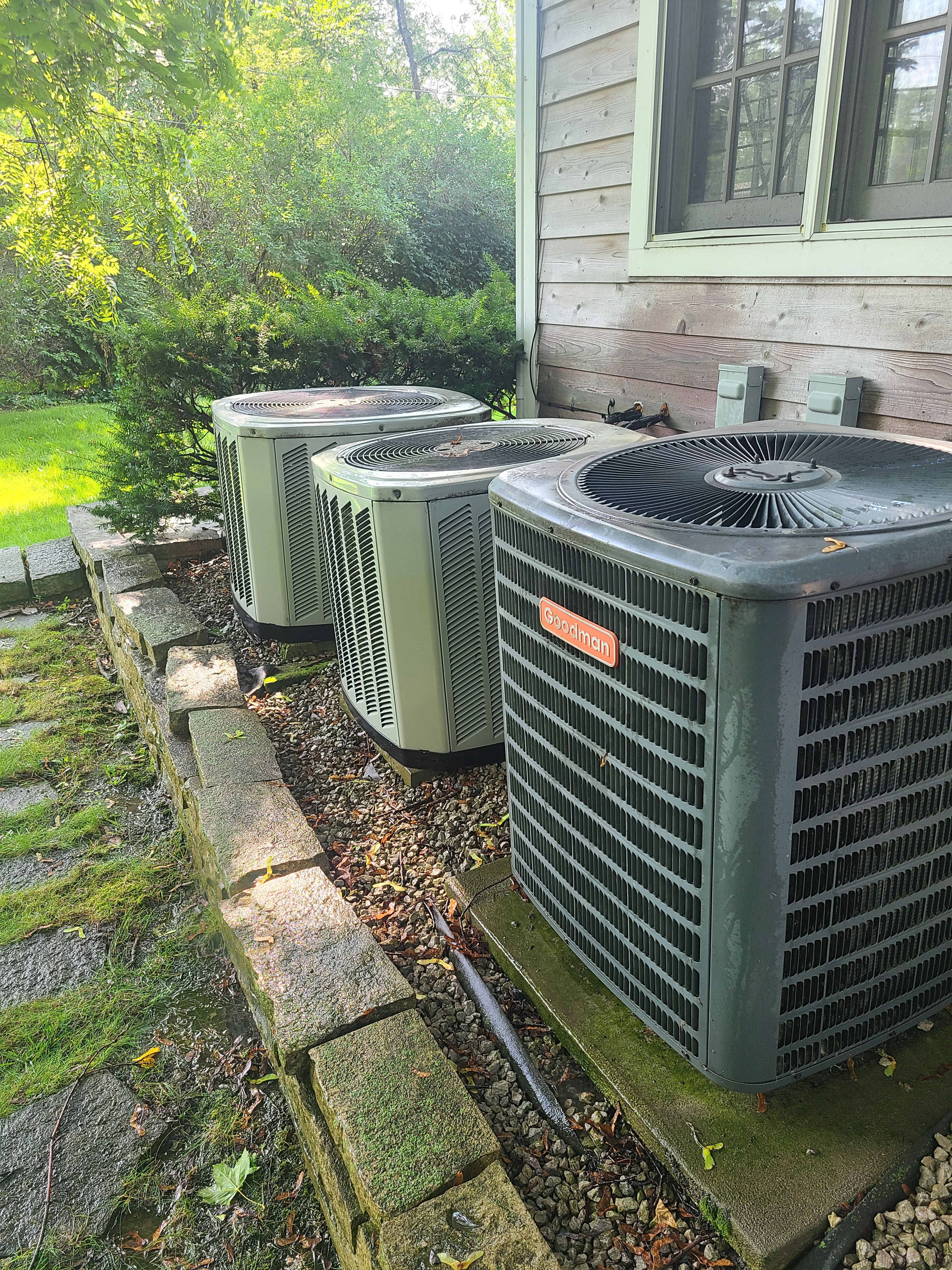 Performed preventative maintenance on one Goodman R22 system and two Trane American Standard R410A systems to extend the life of all 3 units. Checked voltage, amperage, temperatures, pressures, and microfarads. Washed all three condenser coils.