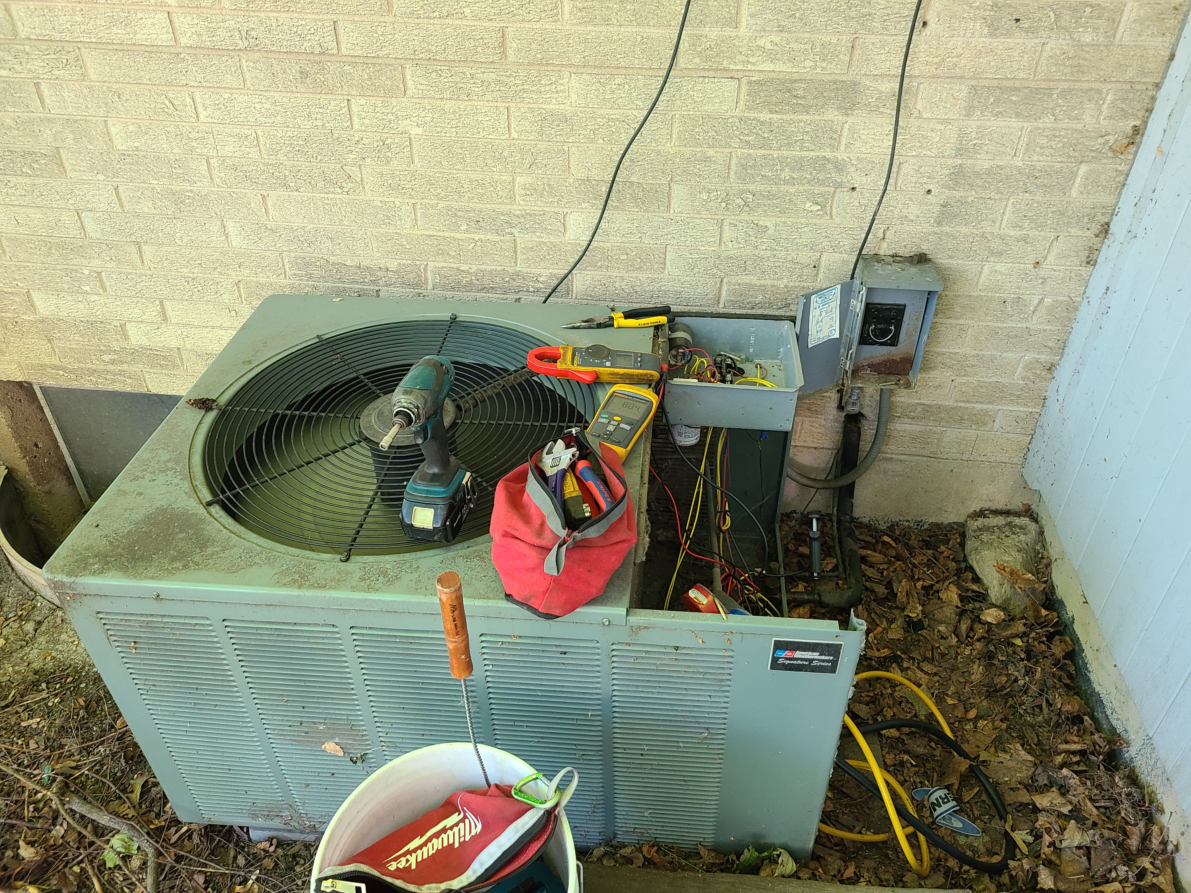 Maintenance on ac system checked volts amps pressures and Temps system working at this time  Northbrook  Ruud