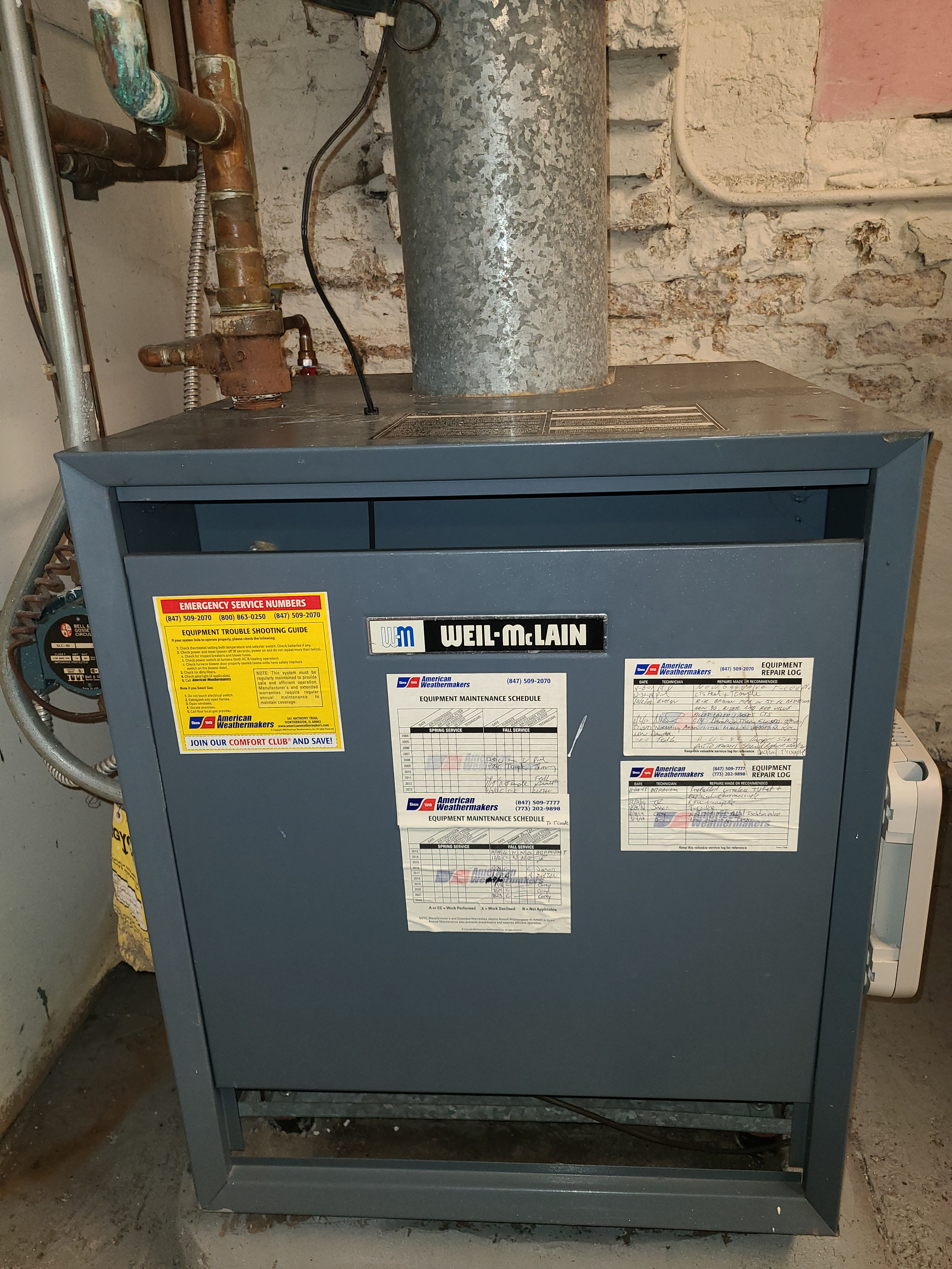 Fall boiler clean and check. System tuned up and ready for winter.