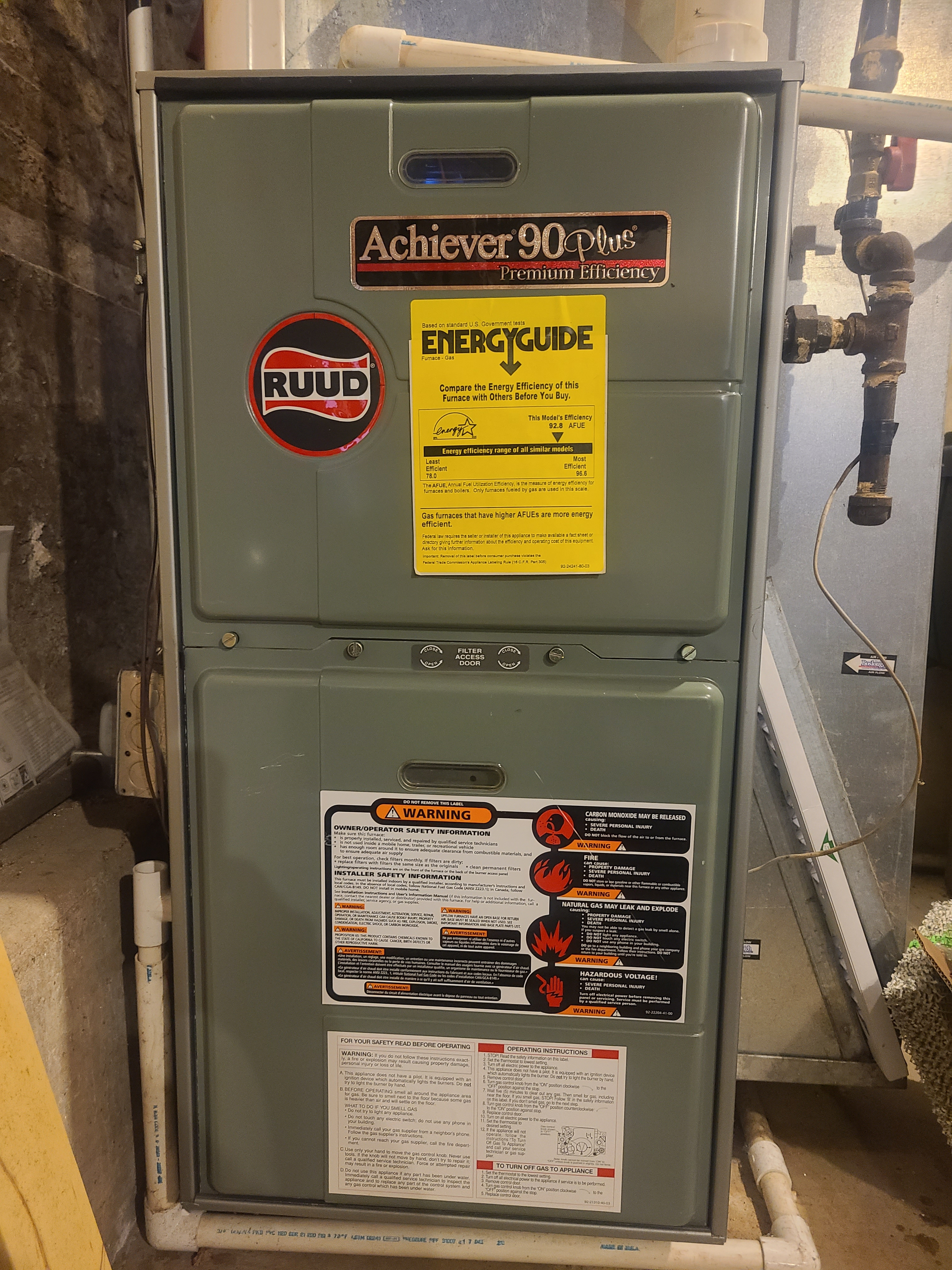 Furnace maintained on Rudd 90% eff furnace with humidifier