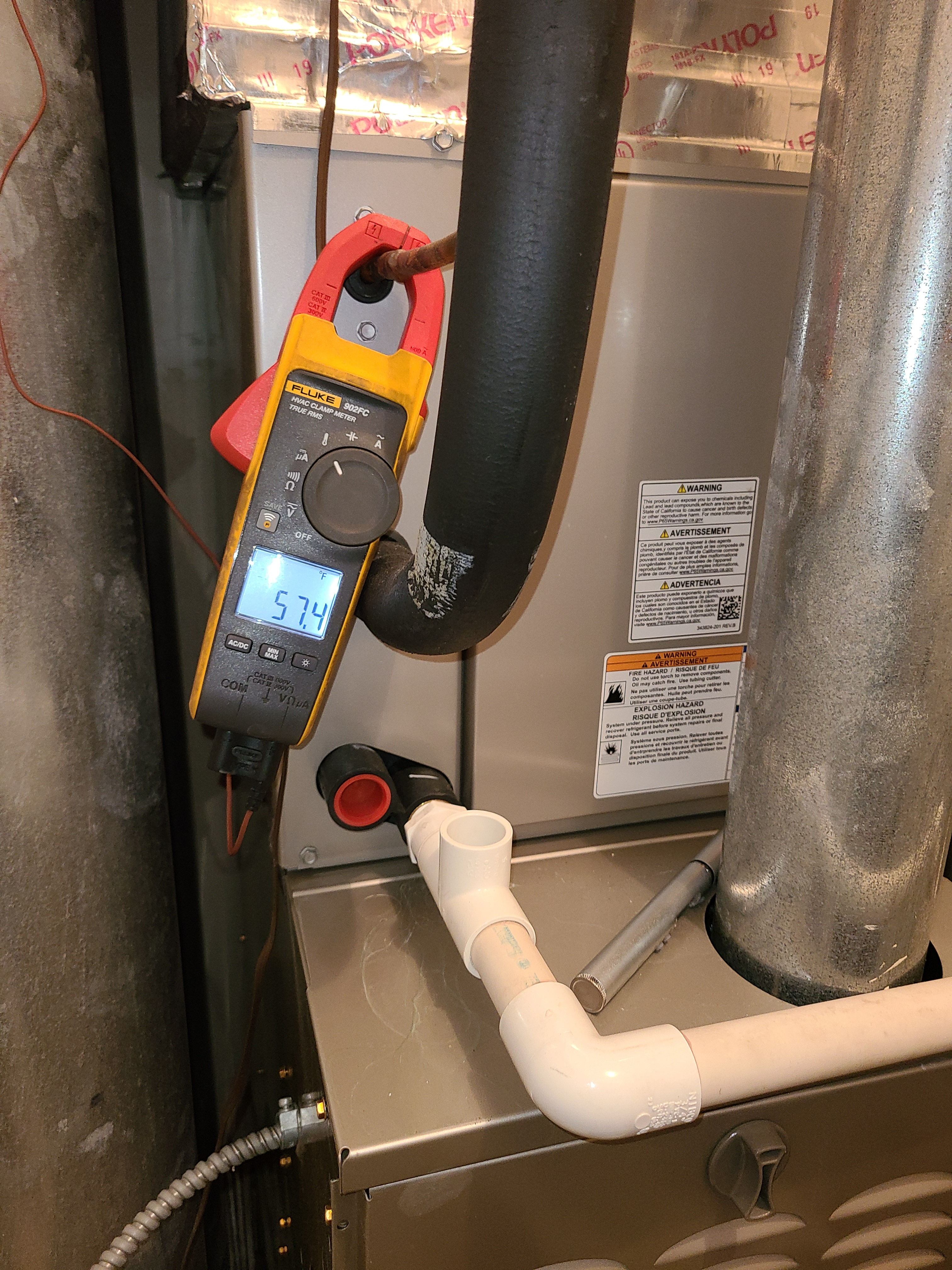 Photo of Carrier Evap coil while checking supply temperature