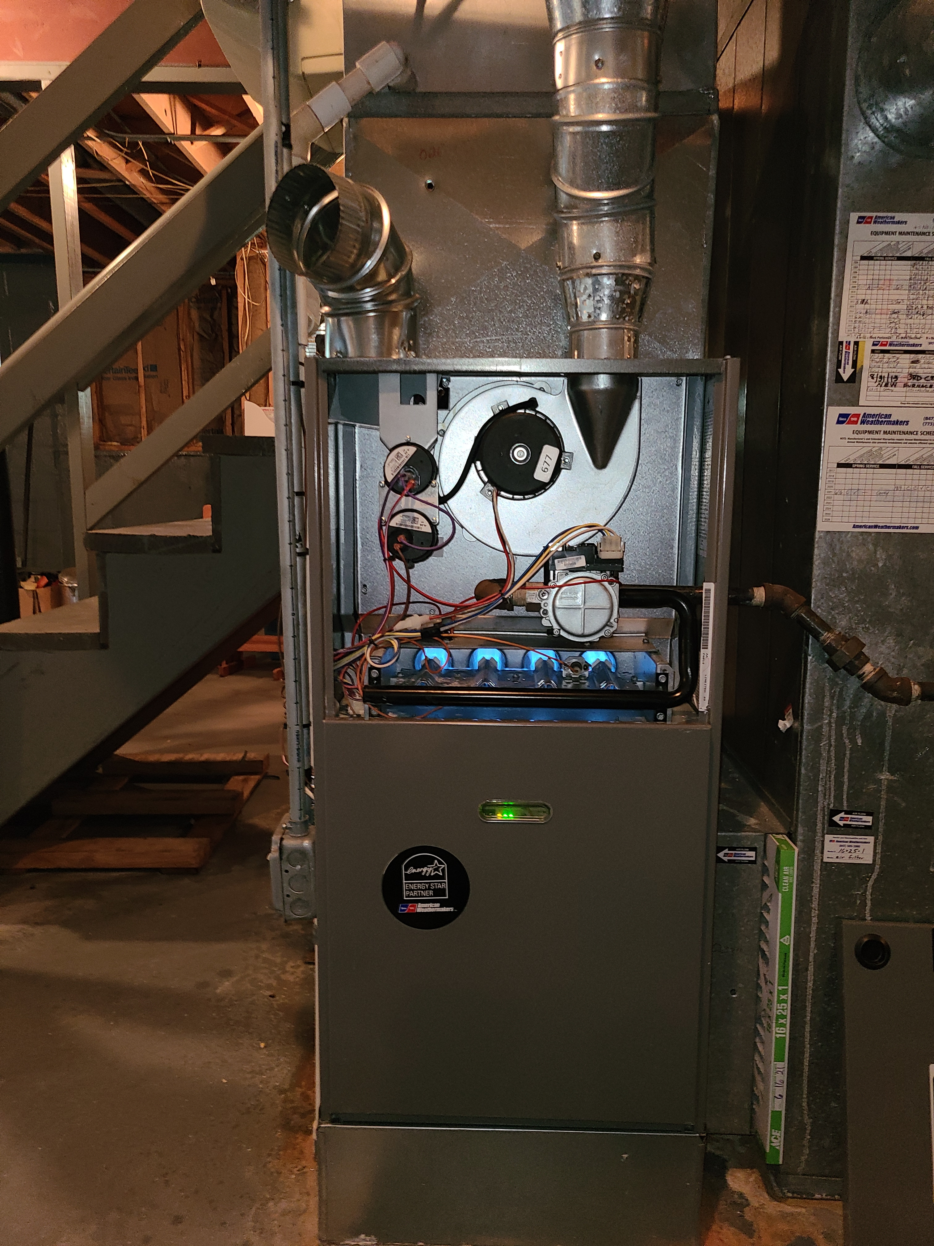 Ruud furnace Aprilaire humidifier fall clean and check. System tuned up and ready for winter.