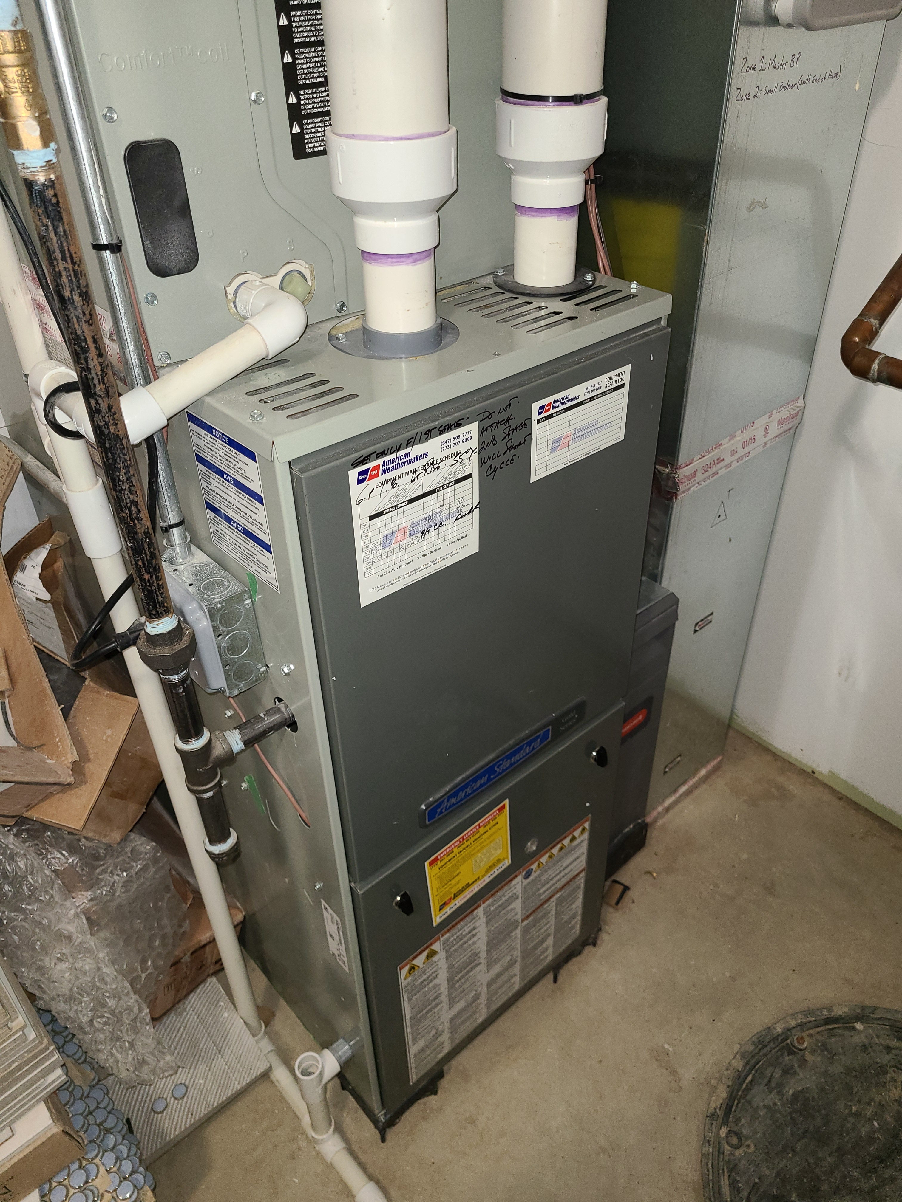American Standard furnace fall clean and check. System tuned up and ready for winter.