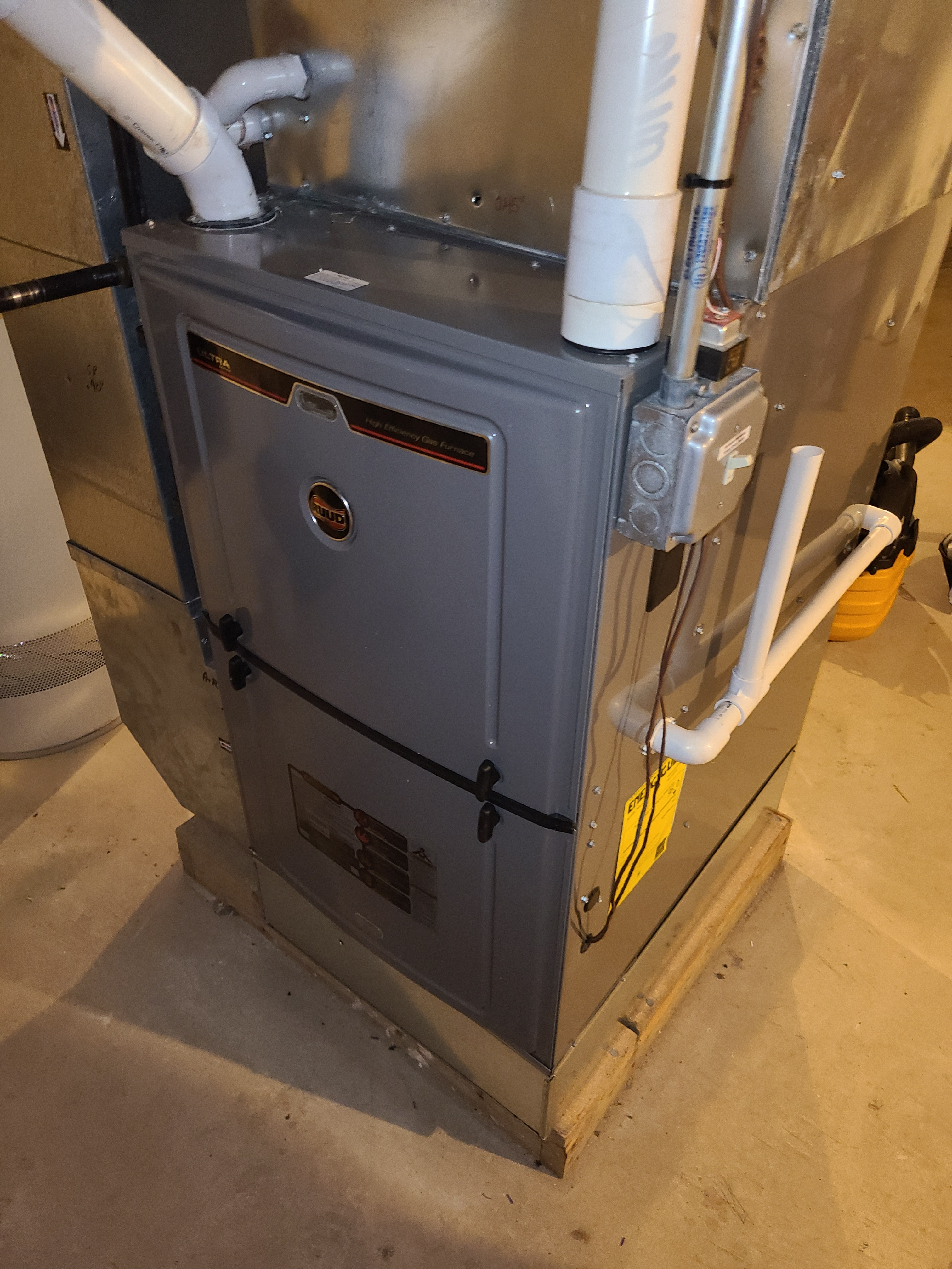Ruud furnace fall clean and check. System tuned up and ready for winter.