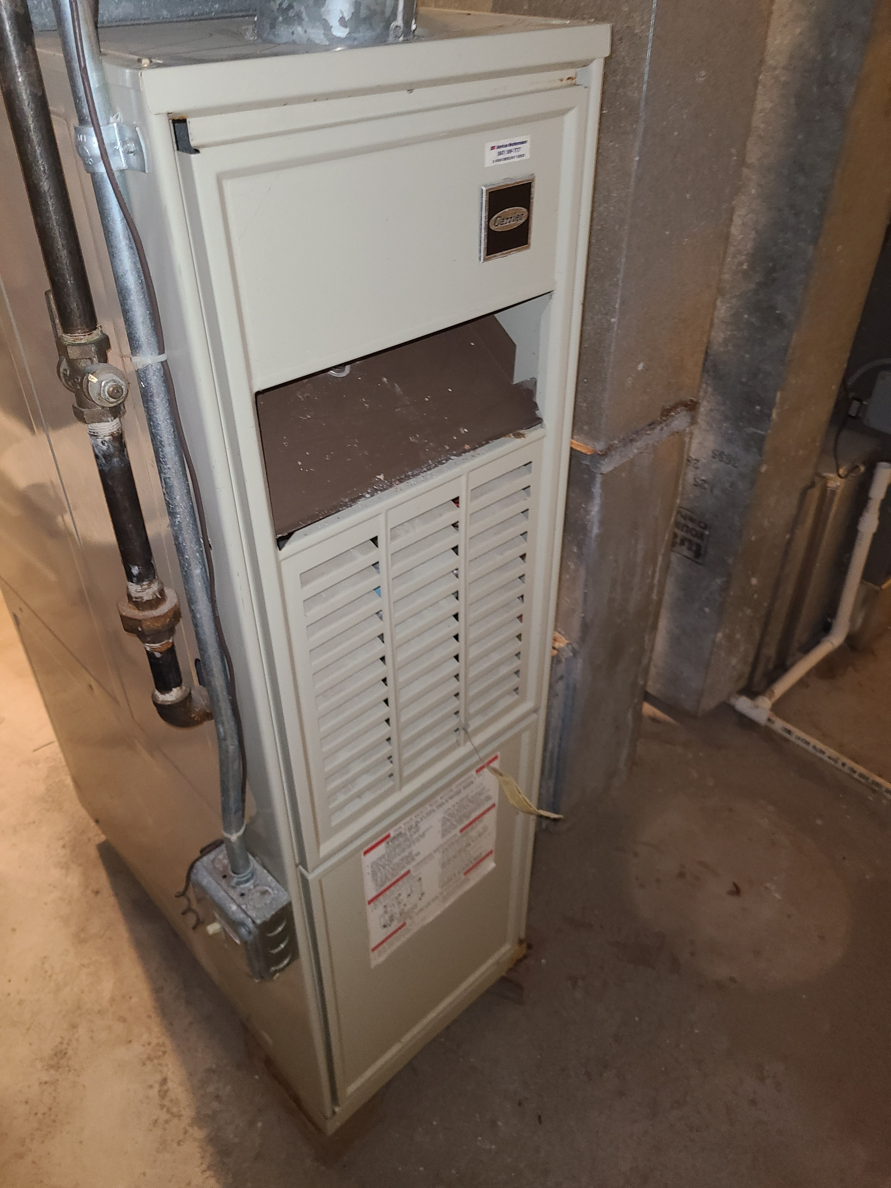 Carrier furnace fall clean and check. System tuned up and ready for winter.
