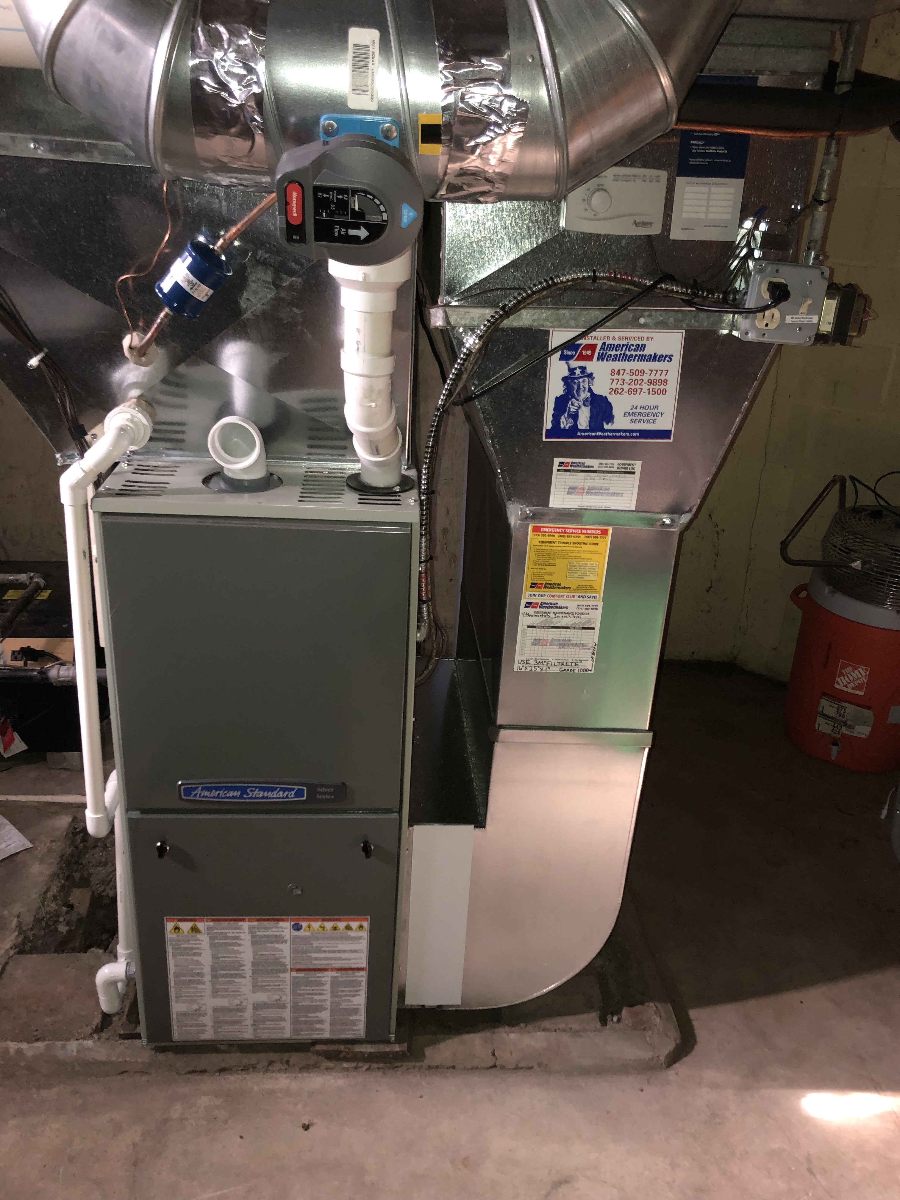 Provided club customer with there annual preventative maintenance on there American standard furnace as well as there humidifier and took measures to give the equipment a long life span